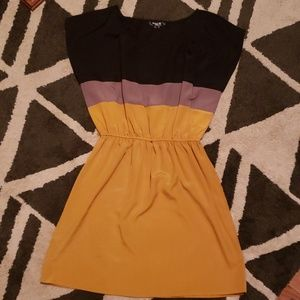 Sequin Hearts Dresses - Mustard gray and black dress